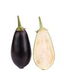 One halved eggplant. Stock Photo