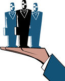 One hand. A hand supporting three executives stock illustration