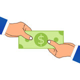 One Hand Giving A Money. Vector Illustration Stock Photos