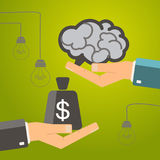 One hand holding brain and other hand offers money bag.  Buy ide. A, investing in innovation, modern technology business concept. Vector Stock Images