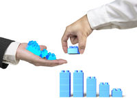 One hand holding stack blocks the other completing bar graph Royalty Free Stock Image