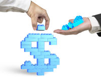 One hand holding stack blocks the other completing dollar sign Royalty Free Stock Photography