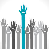 One hand say yes concept. One up hand yes and other hand no background Royalty Free Stock Image