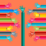 One hand say yes. One hand say yes Vector illustrator EPS 10 Stock Images