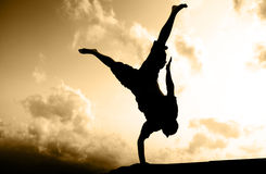 One hand standing silhouette Royalty Free Stock Image
