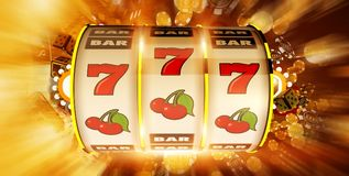 One Handed Fruit Machine. Concept Illustration. 3D Rendered. Slot Machine Drum and Casino Chips Blowing Around. Golden Theme royalty free illustration