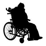 One handicapped man in wheelchair silhouette. Royalty Free Stock Image