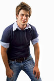 One handsome young man isolated on white Stock Images