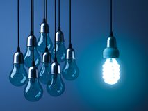 One hanging eco energy saving light bulb glowing and standing out from unlit incandescent bulbs Stock Photo