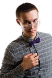 One hansom young man in glasses. With bow look at camera isolated on white stock photos