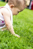 One happy baby sits on the grass in park Royalty Free Stock Image