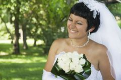 One happy bride outdoors. Royalty Free Stock Photos