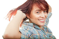 One happy cheerful cute teen woman Stock Image