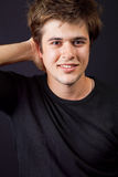 One happy handsome man with nice hair royalty free stock image