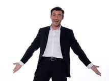 One happy joyful  caucasian friendly man welcoming Royalty Free Stock Image