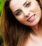 One happy joyful young woman outdoor. Candid portrait of happy young woman outdoor Stock Photos