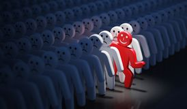 One happy man is out of crowd of many sad people. 3D rendered illustration stock illustration