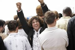 One Happy Man Raising Hands Stock Image