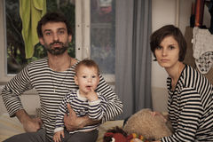 One happy striped family Royalty Free Stock Photography