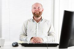 Happy and Pensive Office Worker Stock Photo