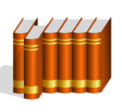One Hard Bound Book Pulled Out from Row stock illustration