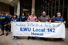 We Are One Hawaii Solidarity Rally -4. Union and public workers and non-profit agencies gathered in solidarity at a rally at the Hawaii State Capitol in downtown Stock Images