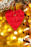 One heart on christmas fir tree branch Royalty Free Stock Photos