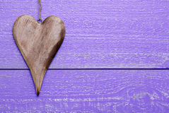 One Heart With Copy Space, Purple Wooden Background Royalty Free Stock Image