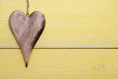 One Heart With Copy Space, Yellow Wooden Background Stock Image
