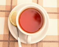 One hot cup of tea with lemon. Stock Images
