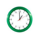 One hour on green wall clock Royalty Free Stock Photography