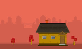 One house landscape with city backgrounds. Vector illustration Royalty Free Stock Images