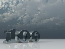 One hundred. Number one hundred under cloudy sky - 3d illustration Stock Photography