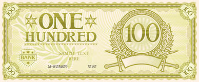 One hundred. Abstract banknote,  symbol Stock Images