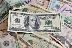 One Hundred American Dollar Bills Stock Image