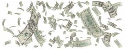 One hundred american dollars rain Royalty Free Stock Photos