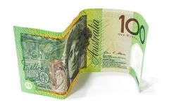 One hundred Australian dollar banknote  on white. One hundred Australian dollar banknote  on white background Royalty Free Stock Photos