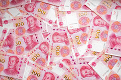 One hundred china bank note background. Royalty Free Stock Images