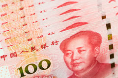One hundred china bank note background. Royalty Free Stock Photos
