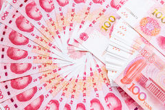 One hundred china bank note background. Stock Photography