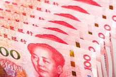 One hundred china bank note background. Stock Photos