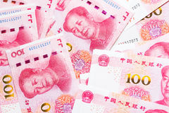 One hundred china bank note background. Stock Photo
