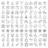 One hundred Christmas icons set. Vector clean flat  icons set for web design and application user interface. Nice details and easily identifiable. Useful for Royalty Free Stock Photos