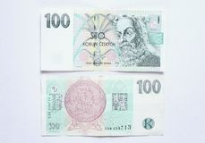 One hundred crown. Banknote of one hundred czech crowns stock image