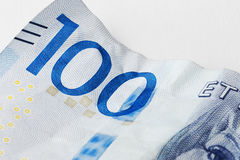 One hundred. Detail of a Swedish one hundred krona banknote introduced in 2016 Stock Photography