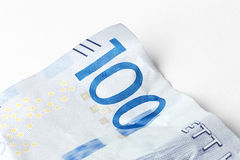 One hundred. Detail of a Swedish one hundred krona banknote introduced in 2016 Stock Photos