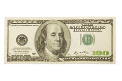 One hundred dollar. On white background. Isolated Stock Photo