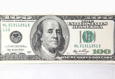 One hundred dollar banknote. Dollars against white background.Close-up stock photo