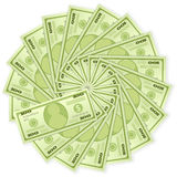 One hundred dollar banknotes. Dollar banknotes on a white background Royalty Free Stock Photo