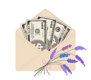 One hundred dollar banknotes in open beige envelope with bouquet. USA banking currency in open beige envelope with bouquet of lavender. One hundred dollar bills Stock Photography